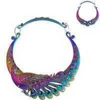 Collier de bijoux pour les femmes en forme de paon coloré double dragon perles libre de mode chaud de l'expédition