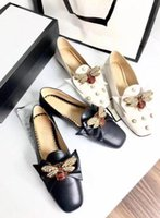 Women 505293 Leather Ballet Flat Pumps With Bow Shoes, Pearls...