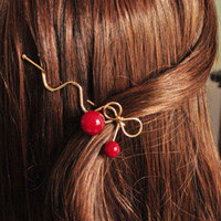 Girl Red Cherry Shaped Bowknot Hairpin Twist Hair Clip Capelli Pins Barrette Copricapo Gioielli regalo acessorio para cabelo