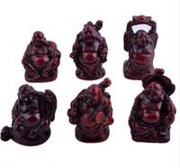 6 pequeñas estatuillas de Buda Feng Shui Resina Palisandro