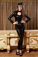 Fantasie Catwomen Cosplay Costume Catsuit Sexy Zipper Back Tuta Nero Ecopelle Tuta Party Clubwear