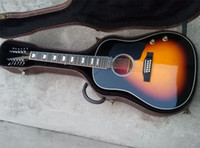 Custom guitar store, OEM sunburst color 12 string acoustic gu...