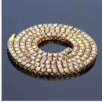 Hip Hop or chaîne 1 rangée 5mm coupe ronde collier de tennis de la chaîne 20 pouces - 30inch hommes punk glacée sur strass chaîne collier bijoux