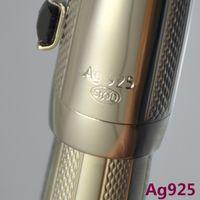Stylo à boule à rouleaux en métal argenté de haute qualité AG925 avec papeterie de bureau d'école de gemme classique stylos à billes d'écriture pour cadeau d'affaires