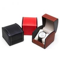 Unique grille grille en cuir PU montre cas présentoir organisateur boîte cadeau montre-bracelet boîte de rangement pour cadeau