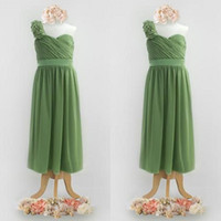 Cute Olive Green Flower Girls Dresses for Weddings One Shoul...