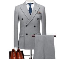 Trajes de boda para hombre grises Esmoquin de novio Trajes de padrino de boda personalizados 3 piezas Slim Fit Best Man Blazers Chaqueta Chaleco de solapa de pico cruzado
