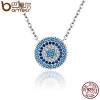 Bamoer popüler 925 ayar gümüş yuvarlak mavi kristal şanslı mavi gözler kadınlar kolye kolye otantik gümüş takı scn099