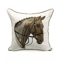"""Deluxe Broderi Häst Head Designer Pillow Cover Sofa Kudde Skydd Canvas Hem Sängkläder Dekorativ kudde 18x18 """"Sälj efter stycke"""