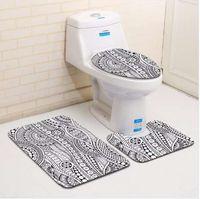 Alfombra de baño y alfombrilla de baño de patrón geométrico de moda moderna 3pcs / set Alfombrilla de baño de baño alfombrilla antideslizante