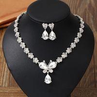Nova chegada duas peças de jóias de noiva 2019 colar e brincos acessórios de casamento flores de diamante jóias de casamento
