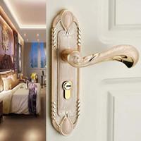 Europen الأزياء العنبر الذهب الداخلية الصلبة الخشب لوحة مقبض قفل العنبر الأبيض نوم bookroom المطبخ باب خشبي قفل الحديثة