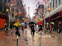 handmade oil canvas impression paris street scenery oil pain...