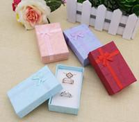 الجملة أربع مجموعات الألوان مجوهرات عرض مربع قلادة أقراط صندوق خاتم 5 * 8 * 2.5CM تغليف علبة هدية