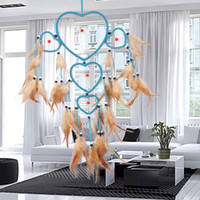 Hecho a mano DIY Dream Catcher Five-rings Corazones DreamCatcher Wall Hanging Home Car Party Home Decor Craft DreamCatcher E5M1