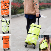 Foldable Shopping Trolley Bag Cart Rolling Wheel Home Grocery Storage Bag Handbag Tote Travel Organizer Bags HH7-1229