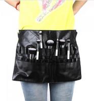أسود اثنين من مجموعة ماكياج فرشاة حامل حقيبة المهنية البلاستيكية المئزر الفنان حزام حزام بروتابلي المكياج حقيبة حقيبة فرشاة التجميل