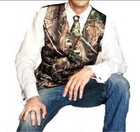 Camo chalecos boda Hunter novio chaleco árbol Hojas del tronco de la primavera del camuflaje del ajustado de los hombres de conjunto de piezas de chalecos 2 (Vest + Tie) Hecho a la medida