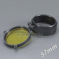 57mm غطاء المصباح نطاق تغطية بندقية نطاق العدسة غطاء القطر الداخلي 57mm شفافة زجاج الصيد الأصفر