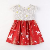 Patchwork Dress for Girls White Red Cotton Bow Floral Deer B...