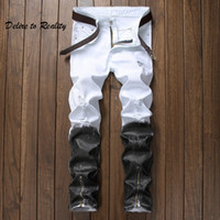 Men' s Distressed Ripped Skinny Jeans Fashion Designer S...