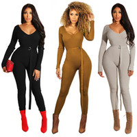 Women knitted Jumpsuits Rompers with sashes belt sexy party ...