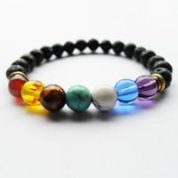 Black Lava Volcanic stone 7 Chakra Bracelet,Natural Stone Yoga Bracelet,Healing Reiki Prayer Balance Buddha Beads Bracelet