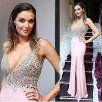 Sexy Side Split Long Prom Dresses Mermaid 2018 Deep V Neck S...