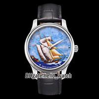 Ucuz Yeni Sınırlı Sürüm Classico 8150-111-2 / Balt Miyota 821A Otomatik Erkek İzle Mavi Yelkenli Dial Deri Kayış Yeni Spor Saatler