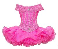 Güzel Dantel Kızlar Yarışması Cupcake Elbiseler Mini Dantel Aplikler Boncuklu kapalı Omuz Cupcake Yarışması Elbiseler Bebek Örgün törenlerinde için
