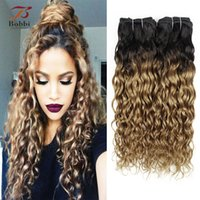 Honey Blonde Dark Roots Ombre Water Wave 1b 27 Curly Hair We...