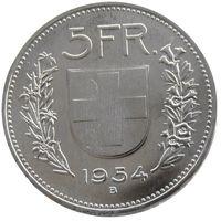 UNC 1954 Suiza (Confederación) Plata 5 francos (5 Franken) Copia de latón niquelado Diámetro de la moneda: 31.45 mm