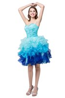 Korta Prom Klänningar Billiga 2018 Blå Mini Homecoming Dress Ruffles Organza Beaded Formell Cocktail Party Dress In Stock Real Photo
