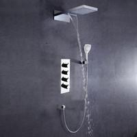 Dulabrahe cromo cachoeira e chuva torneira do chuveiro do banheiro termostática misturador conjunto de chuveiro chuveiro válvula de chuveiro