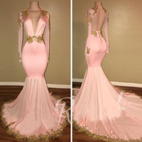 Sexy Open Back Pink Evening Gowns Mermaid Deep V Neck Long S...