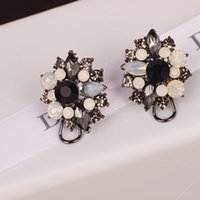 Women Fashion Exaggerated Crystal Flower Stud Earrings White...