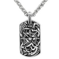 Collana in acciaio inox da uomo viking odin con amuleto e medaglione con medaglia per cani con borsa viking figt