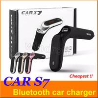 Voiture Bluetooth Adaptateur S7 Transmetteur FM Bluetooth Kit Voiture Mains Libres Radio FM Adaptateur avec Sortie USB Chargeur de Voiture avec Boîte de Détail