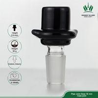 유리 그릇 조각 흡연 물 담뱃대 워터 파이프 봉 10mm 14mm 18mm 검은 모자 담배 허브 왁스 장비 오일 버너 DAB 도구 액세서리