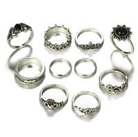 Tocona 10pcs / Set Bohemia Antique Silver Elephant Flower Rose Heart Crown anelli intagliati Set Knuckle Rings per gioielli donna 4985