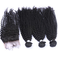 곱슬 곱슬 곱슬 머리는 최고 닫히기 4x4 Afro 변태 곱슬 미완성 처리 된 100 처녀 머리 3Bundles 닫히는 4Pcs를 많음으로 만듭니다