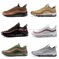 check out cd477 9cacc 2018 Chaussures 97 Ultra Undefeated x Zapatos para correr Hombres Mujeres  Blanco Verde 97s OG Oro