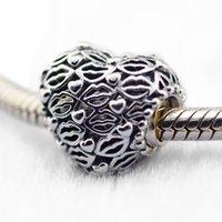 Pandulaso Openwork Perle LIEBE KÜSSE CHARME Valentinstag Fit Charms 925 Silber Armbänder Perlen für Schmuck machen Frau DIY Fashion Perlen
