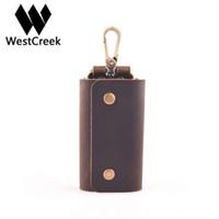 Westcreek Minimalist echtes Leder Handgemachte Schlüssel-Mappen-Schlüssel-Halter-Kasten Retro-Beutel mit 6 Schlüsselring