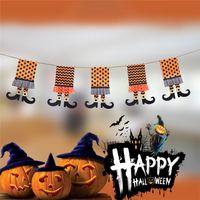 Nueva bruja de Halloween Botas Bandera no tejida Banner Decoraciones de Halloween Halloween decorativos de cadena Banderas Tema Decoración suministros
