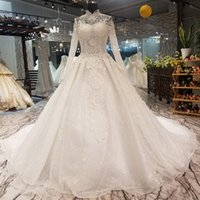 Luxury Muslim Wedding Gown With Long Train High Neck Long Sl...