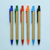 Peut imprimer LOGO e-friendly Creative Minimaliste Vert Kraft Papier Tube Gel Stylo Signature Stylo Bureau Fournitures Scolaires