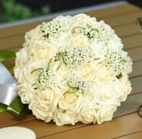 2017 neue Ankunft 6 Farben Hochzeitsstrauß Handgemachte Rosen Rosen Buque de Noivas Hochzeit Blumen Brautsträuße Ramos de Novia