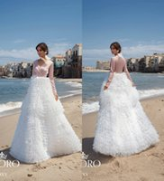 2019 V Neck A Line Long Sleeve Wedding Dresses Tiered Skirts...