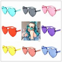 8 Colors Love Heart Shape Sunglasses Women Rimless Frame Tin...